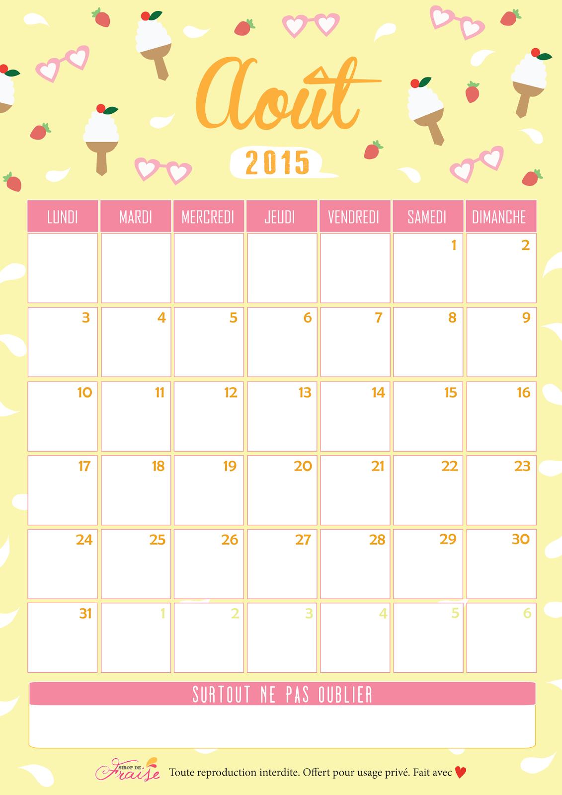 Calendar Diy Tumblr : Calendrier diy août sirop de fraise rien que pour