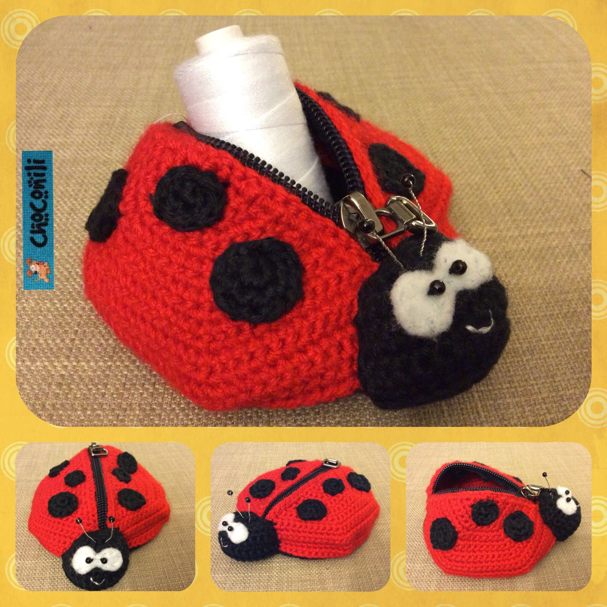 Free crochet pattern in German for ladybug coin purse | Buenas Ideas ...