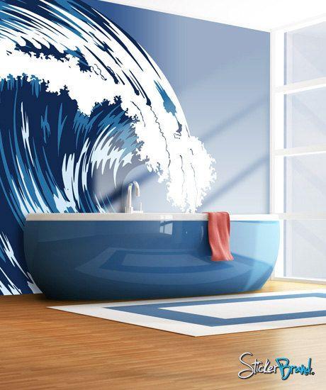 Love The Wave Mural Crashing Over Blue Bath Tub An