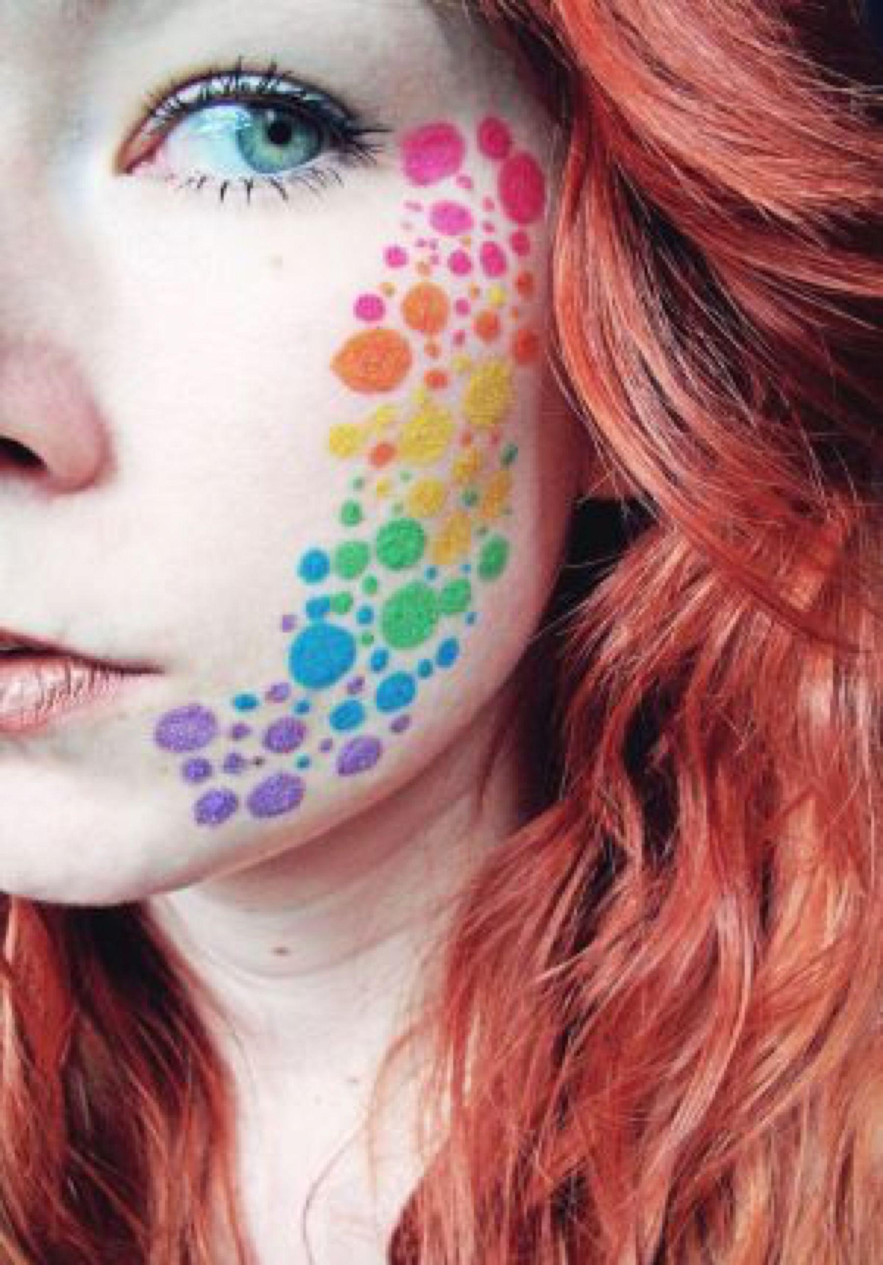 Rainbow Dots Pride Makeup Rainbow Face Paint Rainbow Makeup