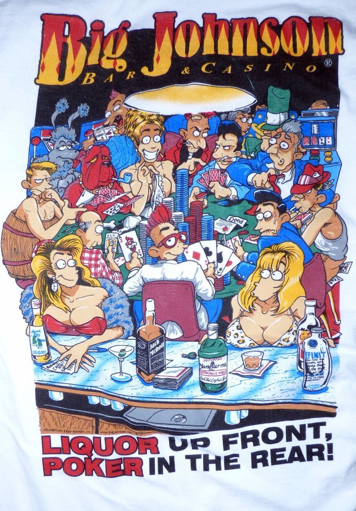 cb2ffa8ba Vintage 90's BIG JOHNSON Shirt Liquor up Front Poker in the rear Size 2XL  #Gildan #GraphicTee