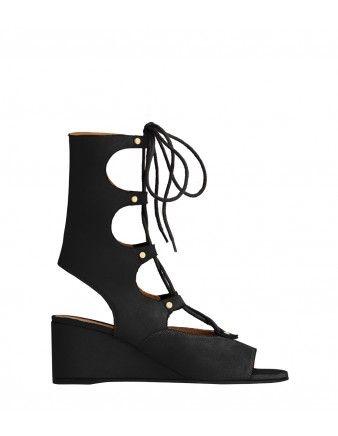 7455b6d1b350 Chloe Black Suede Lace-Up Gladiator Sandal