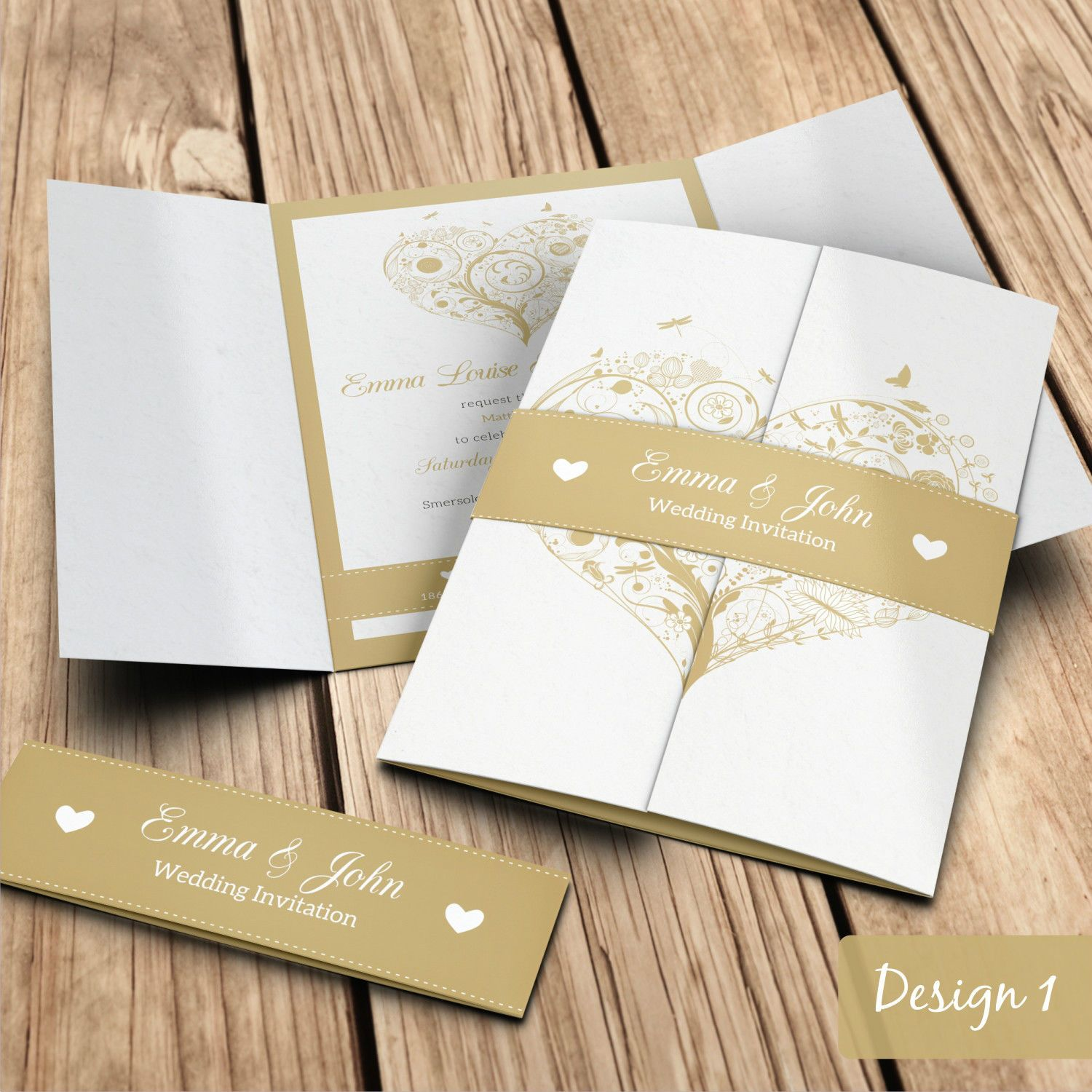 Wedding Invitations With Belly Bands