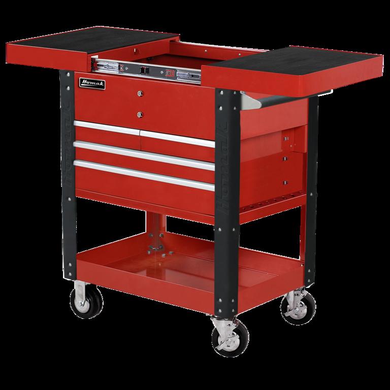 homak 35″ pro series four drawer slide top service cart | homak ...