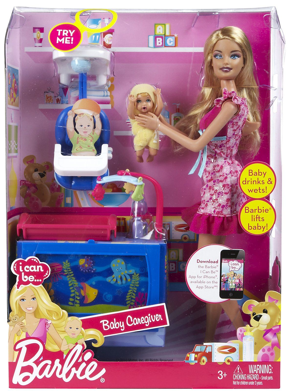 Princess Toys Box Storage Kids Girls Chest Bedroom Clothes: Barbie I Can Be†Baby Caregiver Doll Playset