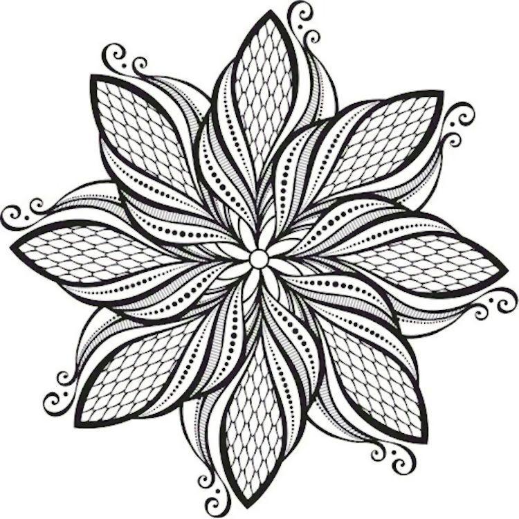 Beautiful Zentangle Pointed Flower Love It Mandala