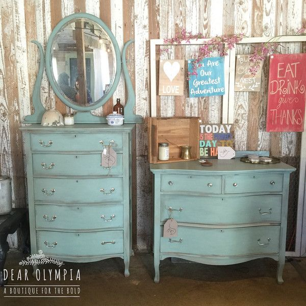 CeCe Caldwells Paints new Duck Blue painted dresser and vintage tall ...
