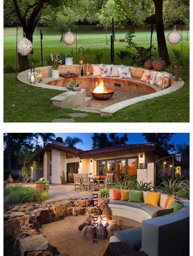 Sunk In Outdoor Space Inspiration Outdoordecordeck Decor 2019 Pinterest Spaces And Backyard Amenagement Jardin Foyer Decoration Exterieur