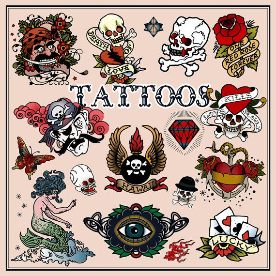 Set of Tattoos in Traditional Vintage Style. Vector