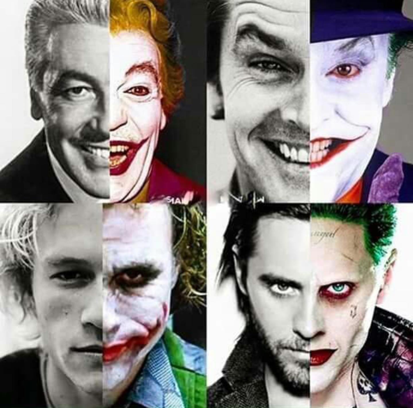 Cesar Romero Jack Nicholson Heath Ledger and Jared Leto each split face as The Joker and themselves.