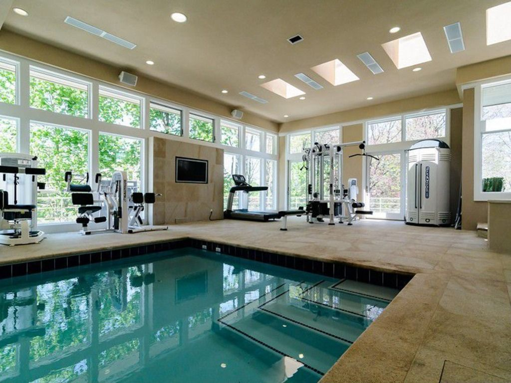 indoor gym pool. Modern Home Gym With Marcy Diamond Elite Smith Cage Linear Bearings, Fence, Exterior Stone Floors, Indoor Pool, Skylight Pool T