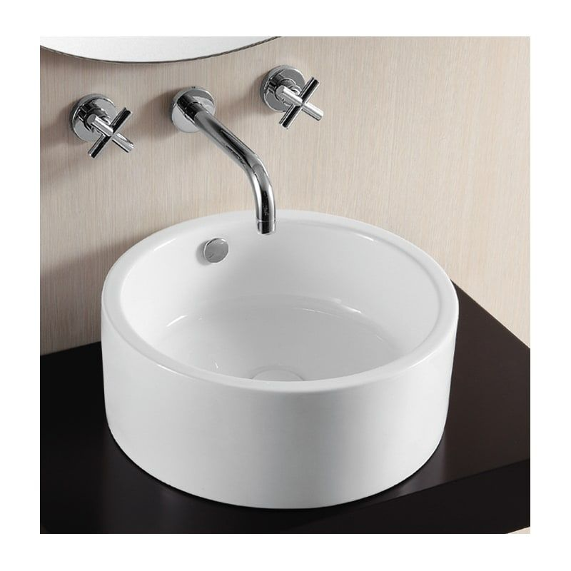 White Porcelain Ceramic Vessel Bathroom Sink Basin with Overflow and Faucet Hole