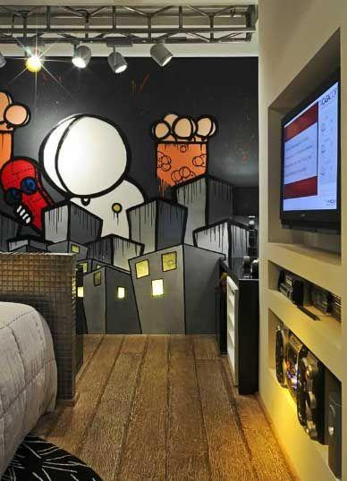 DORMITORIO GRAFFITI PARA JOVENCITO  Dormitorios Fotos de - Decoracion De Recamaras Para Jovenes Hombres