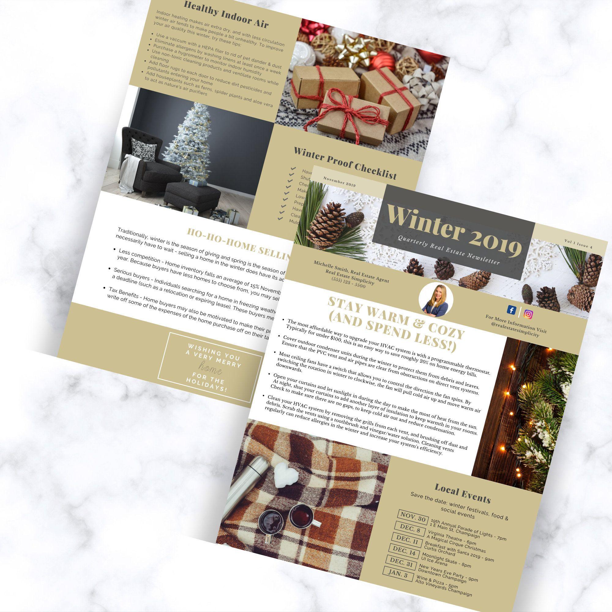 Real Estate Newsletter Template Winter 2020 Newsletter Realtor Newsletter Realtor Christmas Card Real Estate Marketing Canva Editable Newsletter Templates Real Estate Marketing Real Estate