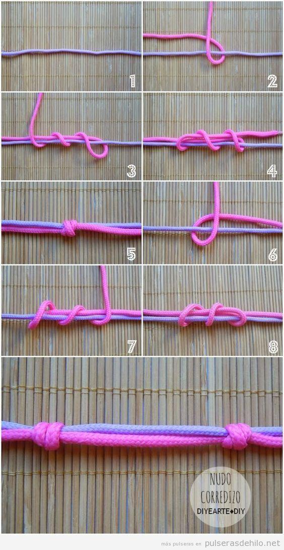 Cómo hacer un nudo corredizo para pulseras de cuerdas | Pulseras de ...