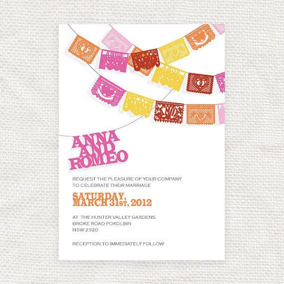 Printable Fiesta Wedding Invitation Papel Picado Diy