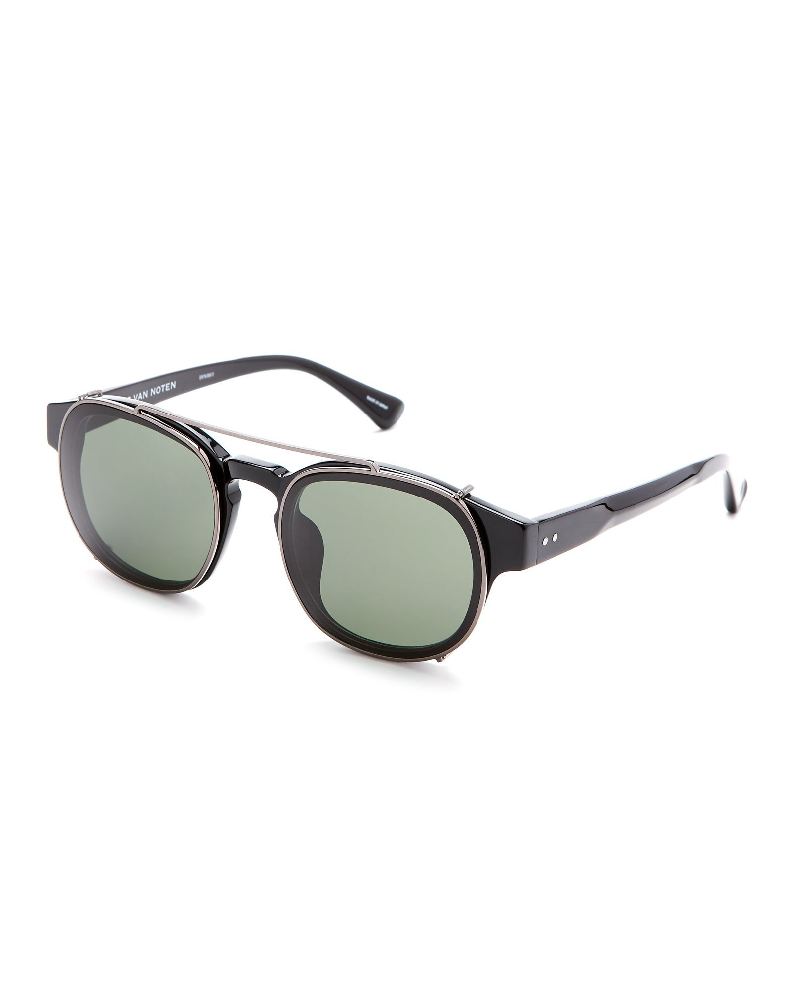Dries Van Noten X Linda Farrow Black DVN80 Round Clip-On Sunglasses