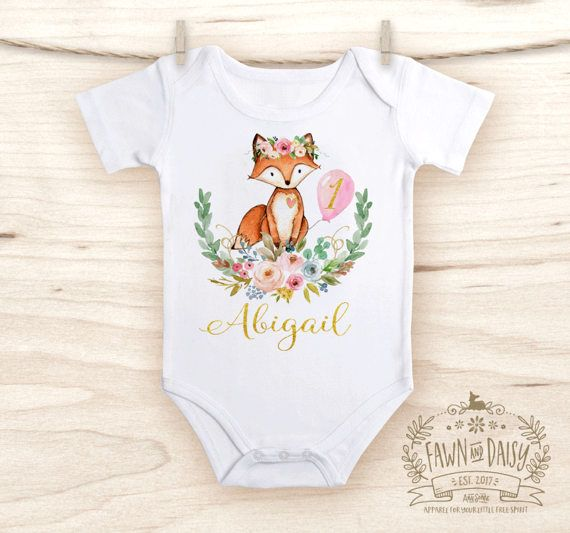 b4f560d2f First Birthday Outfit - 1st Birthday Onesie® for Girl Pink and Gold - Woodland  Birthday Onesie® - Fox Boho Birthday Outfit