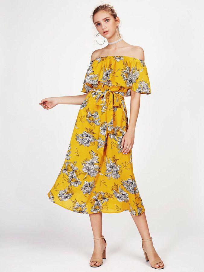 05165b69fb Shein Self Tie Flounce Off Shoulder Dress   Products   Off shoulder ...
