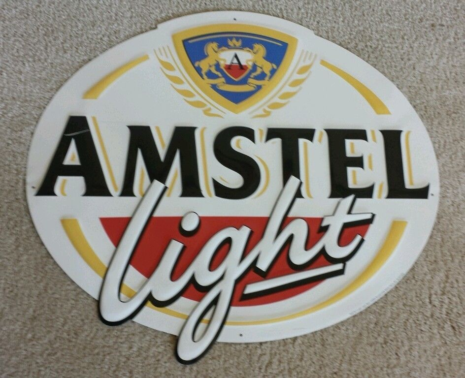 Amstel Light Lager Beer Embossed Metal Tin Oval Bar Sign Approx 19