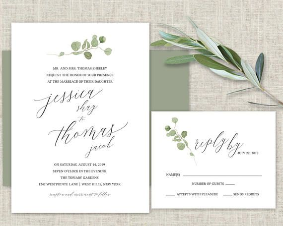 Greenery Wedding Invitation Template Eucalyptus Watercolor Script