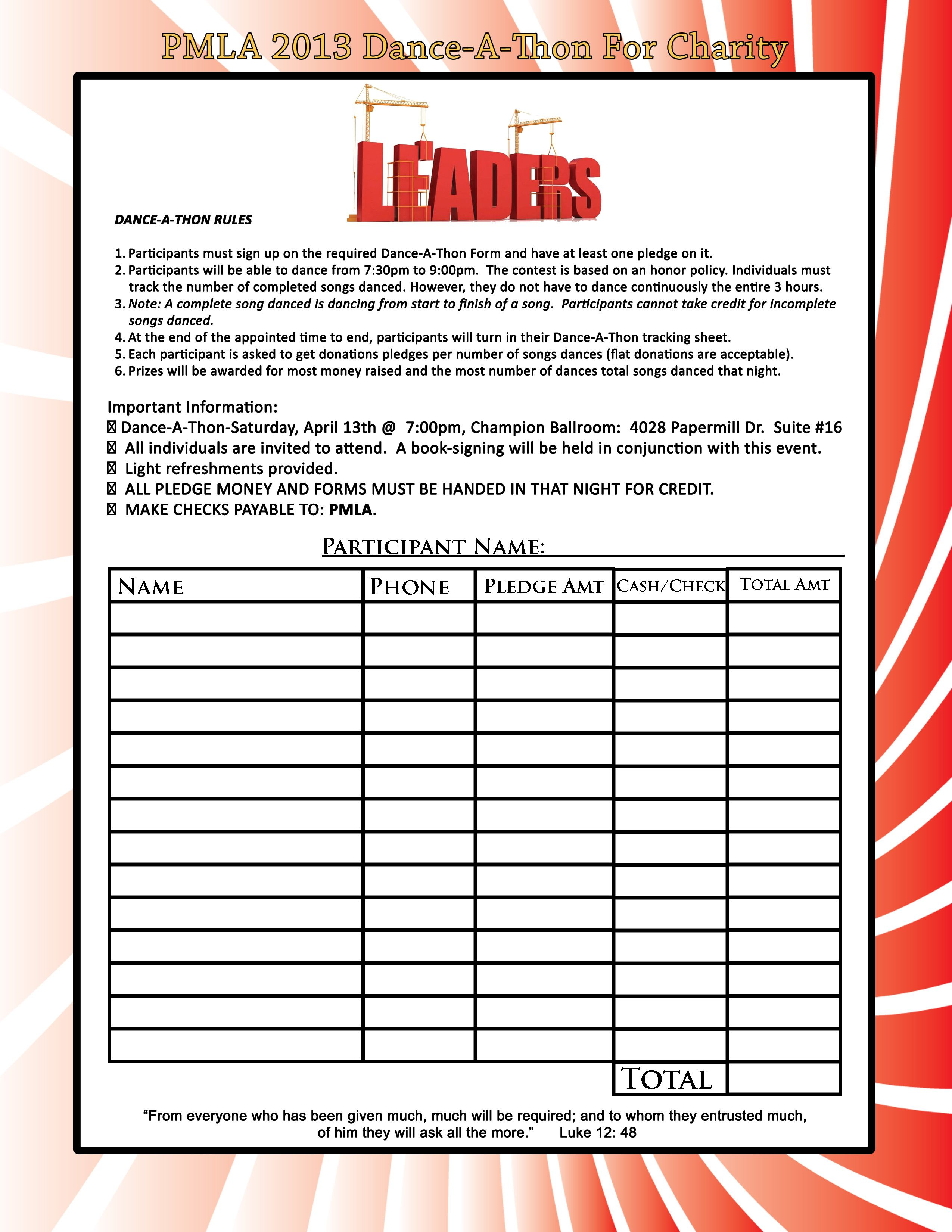 walk a thon pledge sheet template