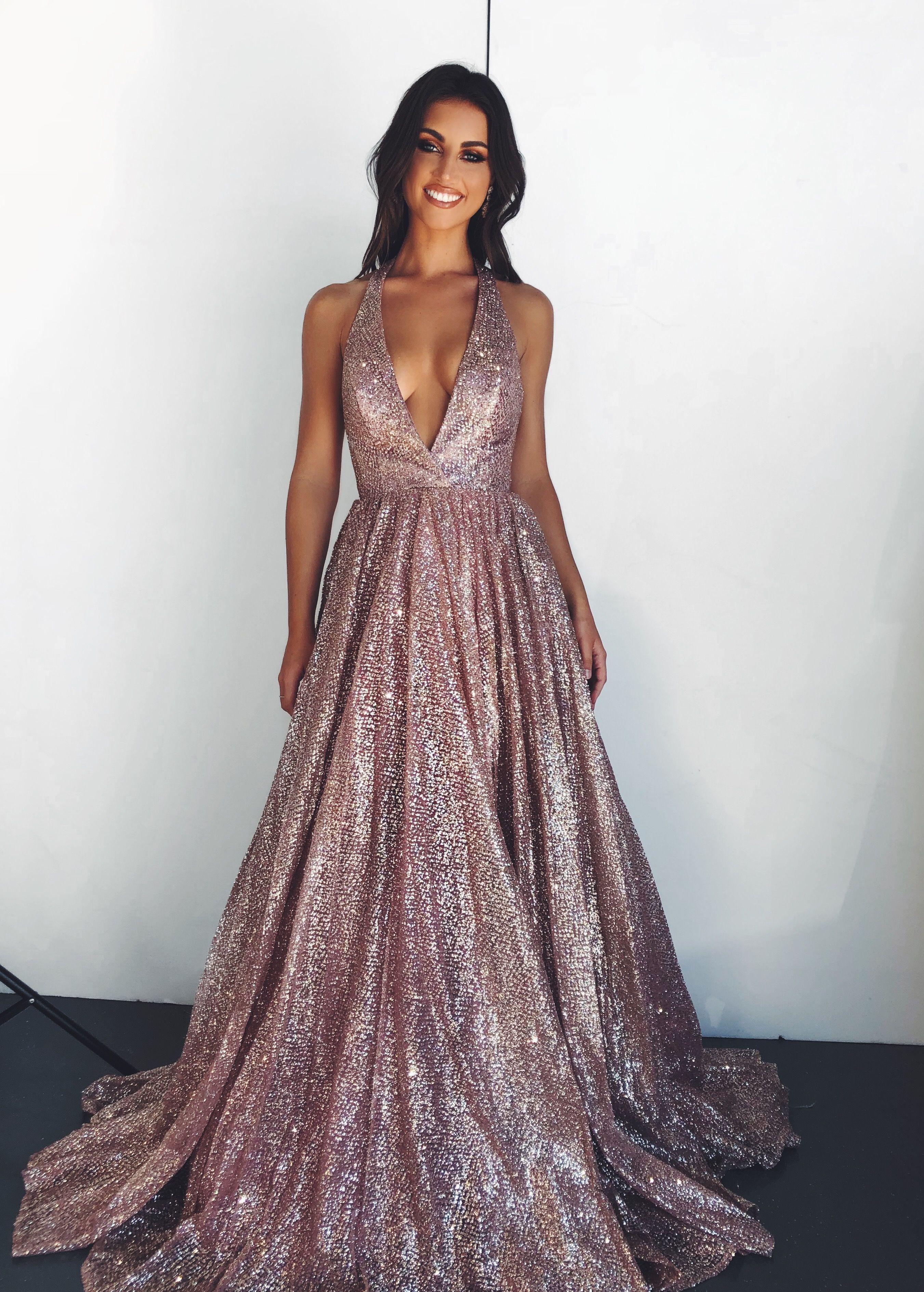 c046f4eb A&N Luxe Saina Glitter Gown - Rose Gold in 2019   BTS   Glitter ...