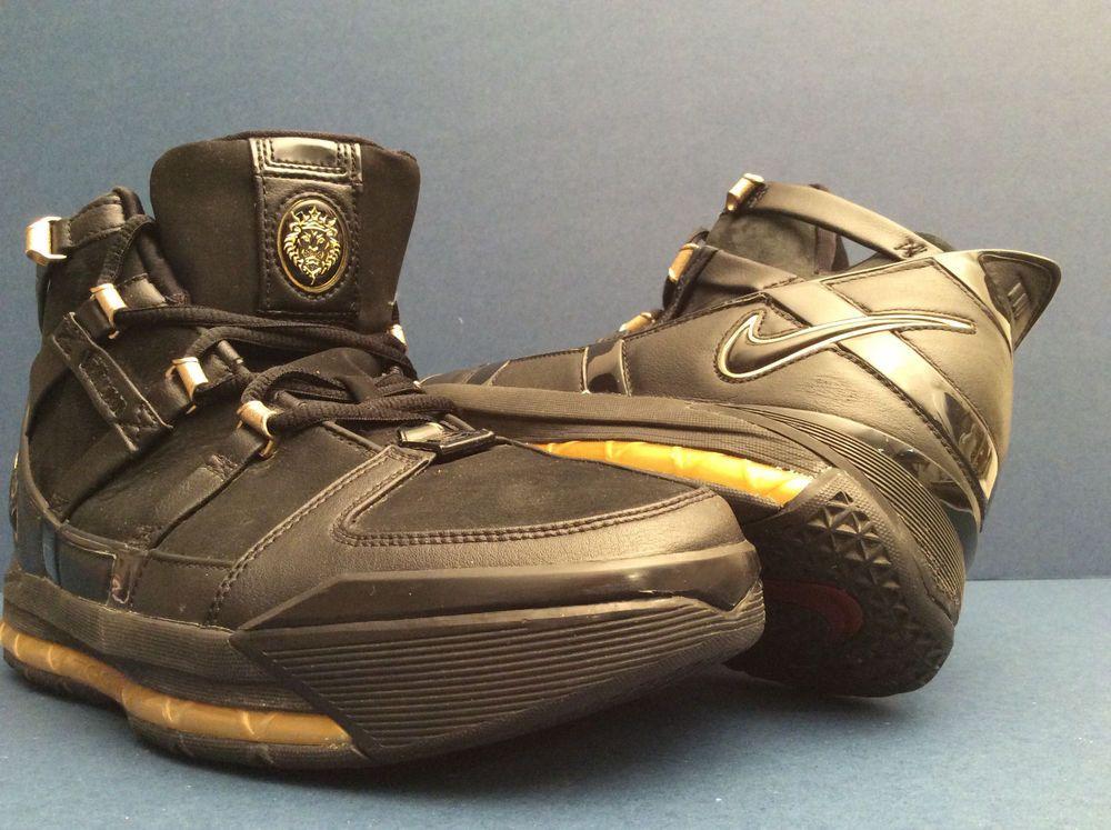 Nike Zoom Lebron III 3 BLACK METALLIC GOLD {312147-006} Mens Shoes Size 10.5