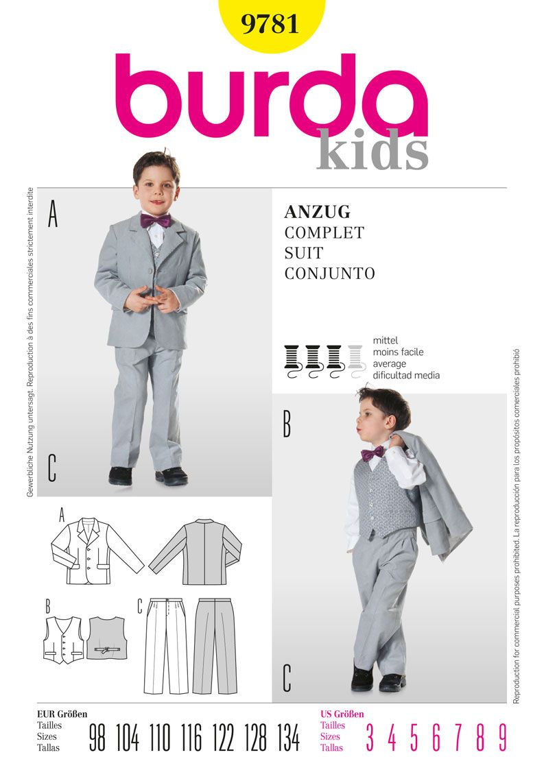 Simplicityburda boys three piece suit pattern coat pants burda childrens sewing pattern 9781 suit sizes love this they look so smart jeuxipadfo Choice Image