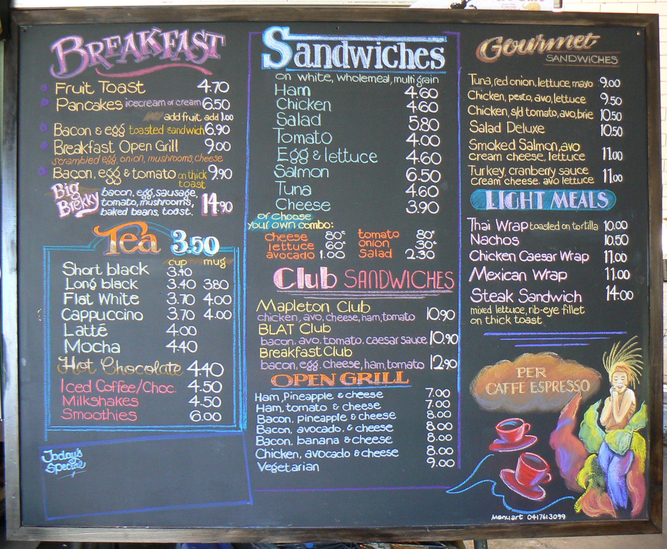 Cafe Chalkboard Menu Boards