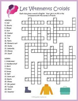 French Clothing Vocabulary Crossword: Les Vêtements | French ...