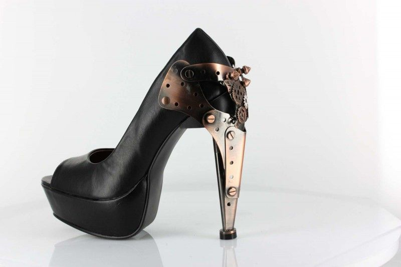 Titan - Black Pu - Custom steampunk metallic plated heel with butterfly logo and gears. Thundra PU material (synthetic leather) platform peep-toe pumps in Steampunk Boots & Shoes