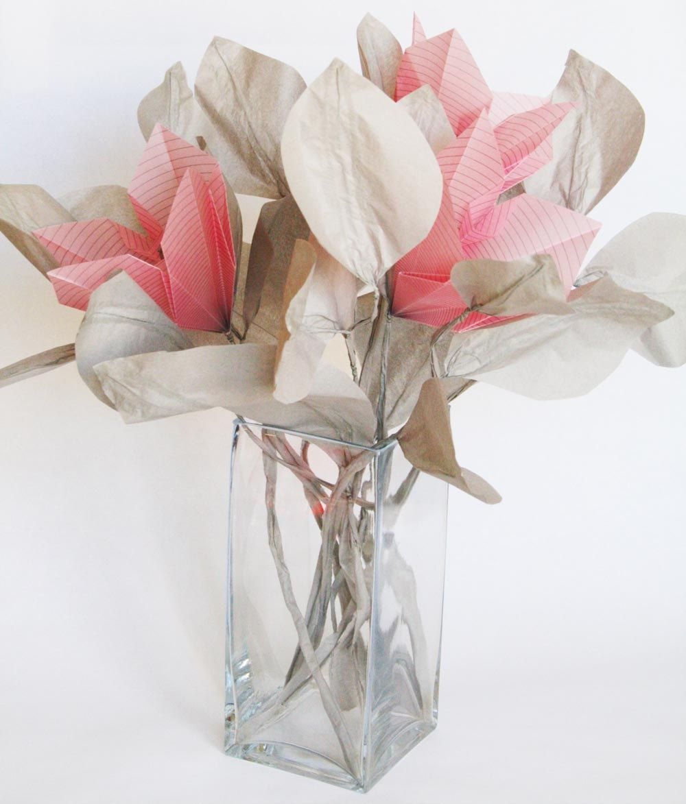 Pink Lilies Origami Flower Bouquet Handmade Paper Flowers And
