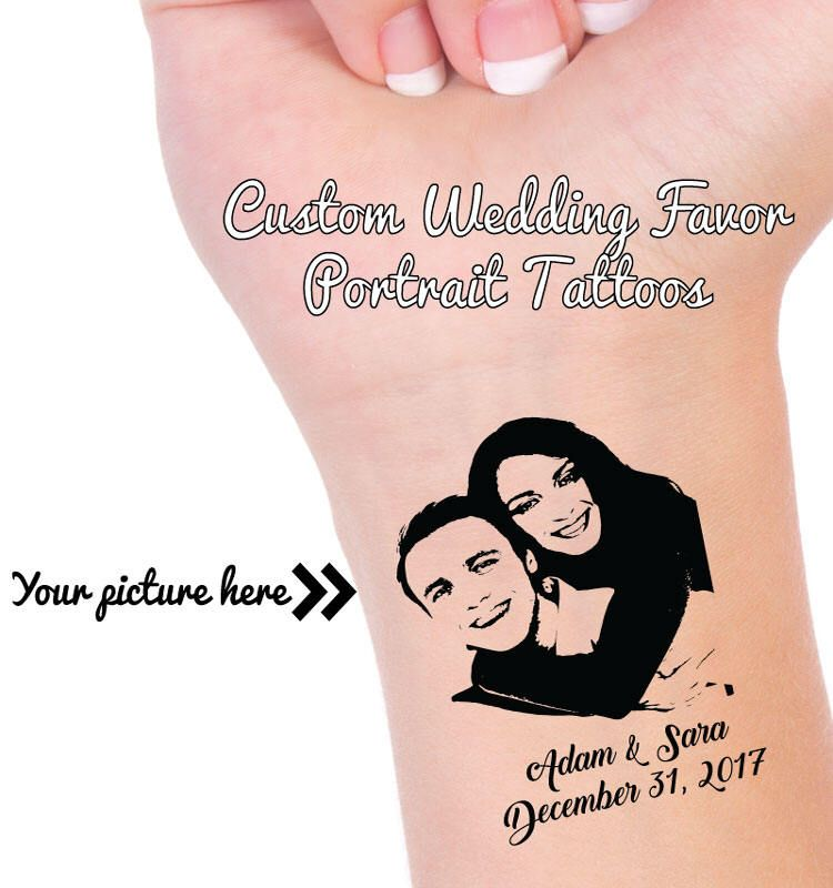 Custom Portrait Tattoos Wedding Guest Favors Personalized Temporary Tattoo Reception Favor Save The Date
