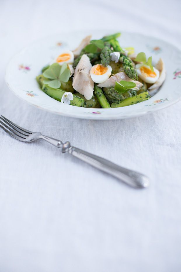 Early summer potato salad with smoked fish and nettle paste