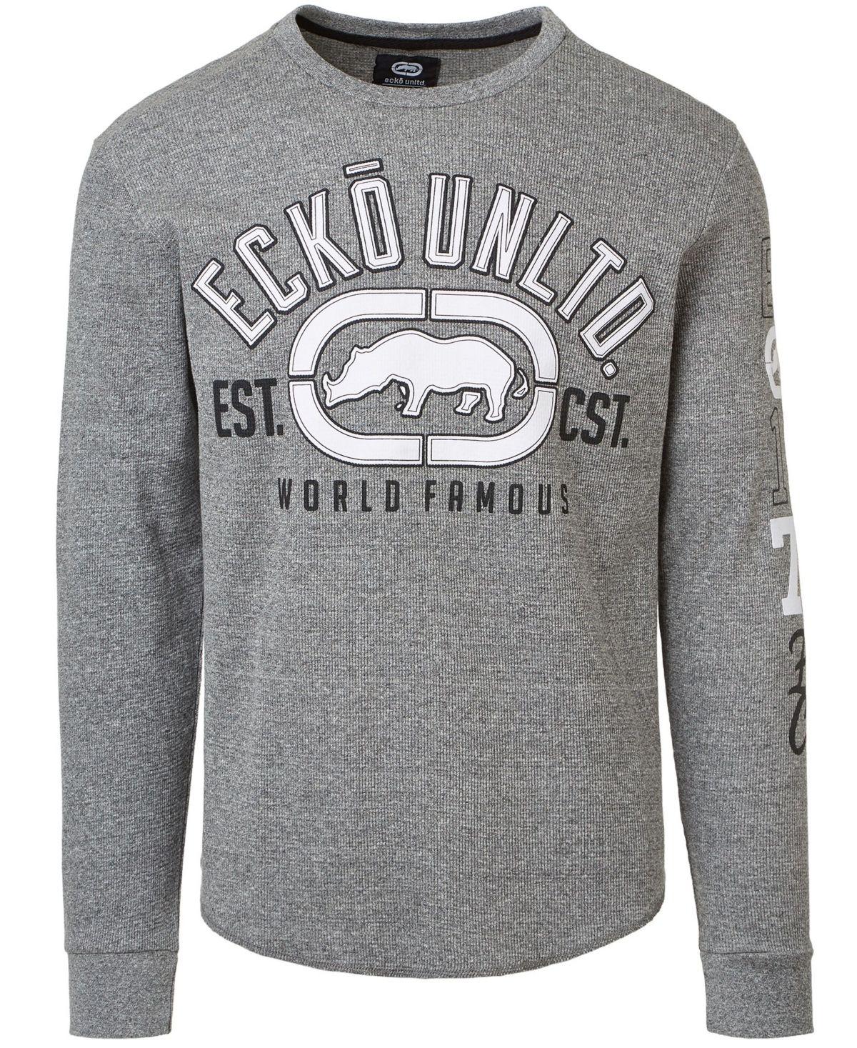 Ecko Unltd Men S Relentless Rhino Thermal Long Sleeve Grey Marle Thermal Long Sleeve Long Sleeve Mens Tshirts [ 1467 x 1200 Pixel ]