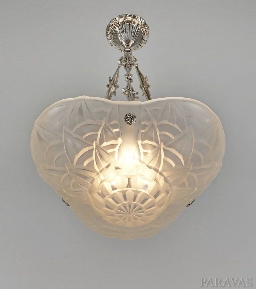 Degue french 1930 art deco chandelier pendant lustre lamp degue french 1930 art deco chandelier pendant lustre lamp lampe muller era arubaitofo Choice Image