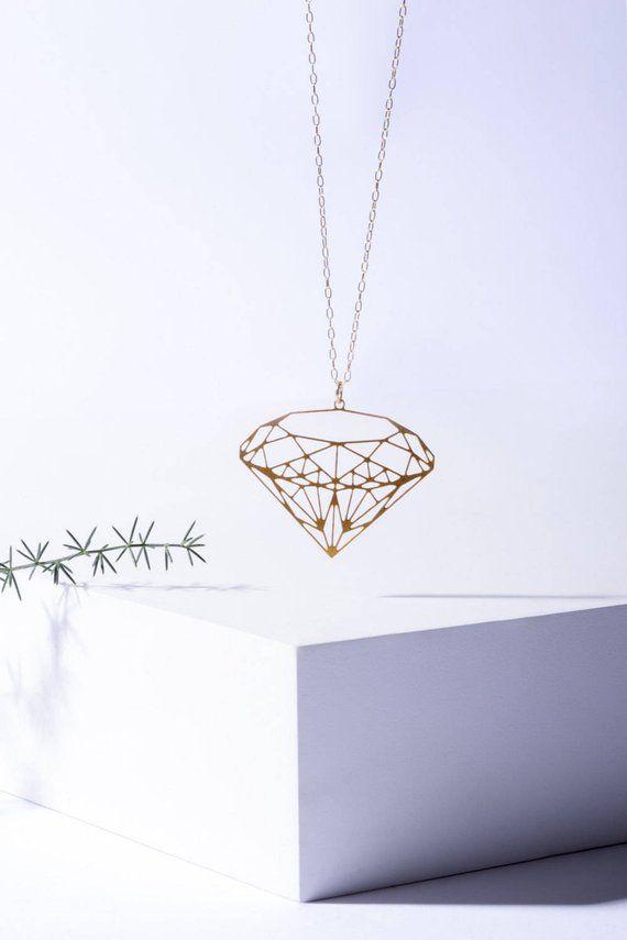 Geometric Diamond Necklace Pendant