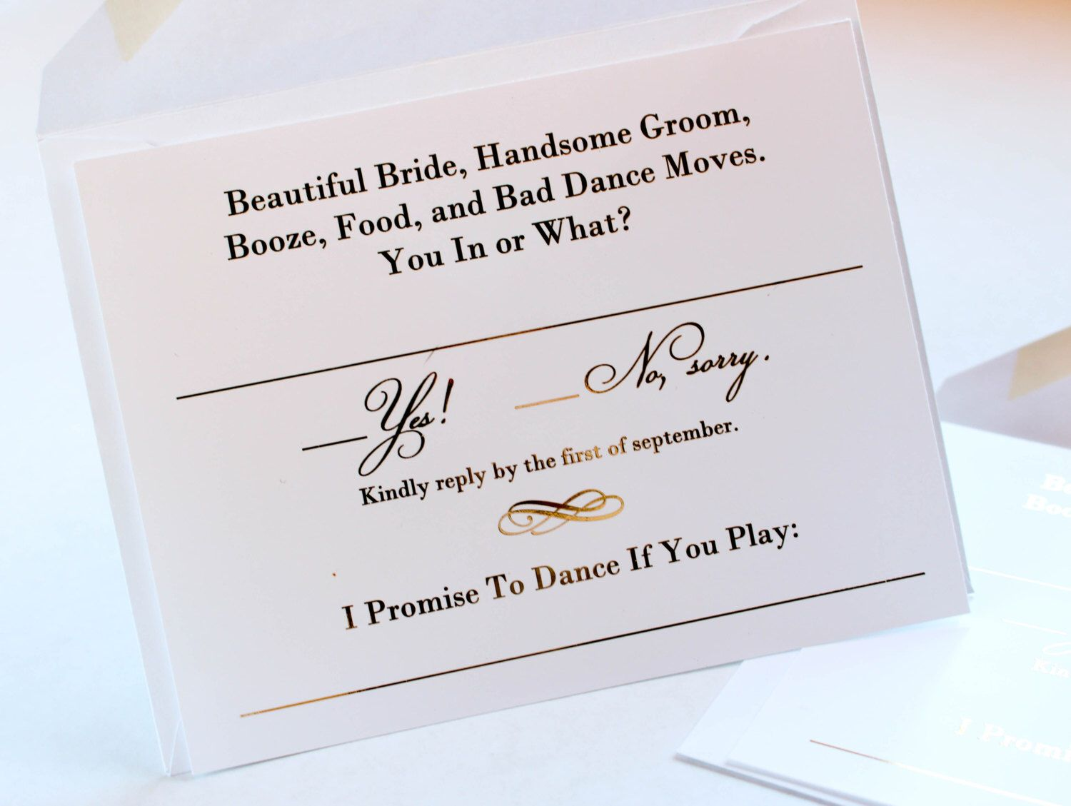 Gold Foil Wedding Invitation RSVP Song Request Cards //Response ...