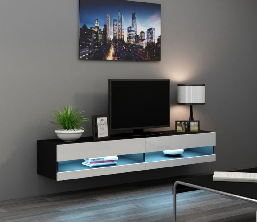 Seattle 34 Black And White Wooden Tv Stands Tv Kastenwanden Woonkamer Tv