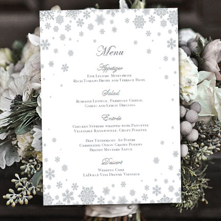Printable Wedding Menu Template  - menu template for word
