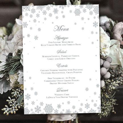 printable wedding menu template snowflakes silver gray editable