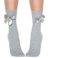 Jonathan Aston Crystal Socks. Silvery-grey ribbed, satin bows. One size