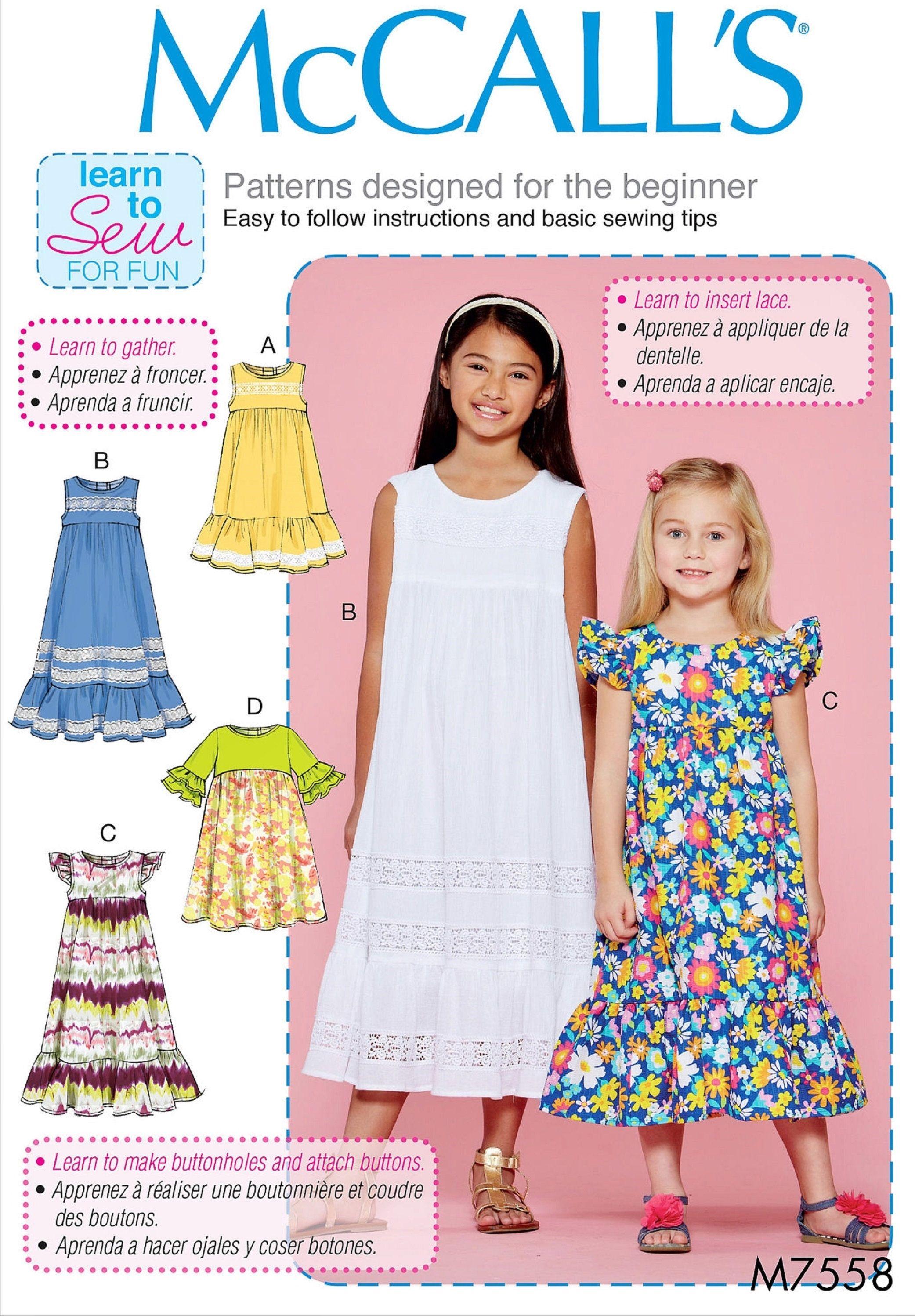 Girls//Girls Plus Dresses Size 7-16.5 New McCalls M7079 PATTERN