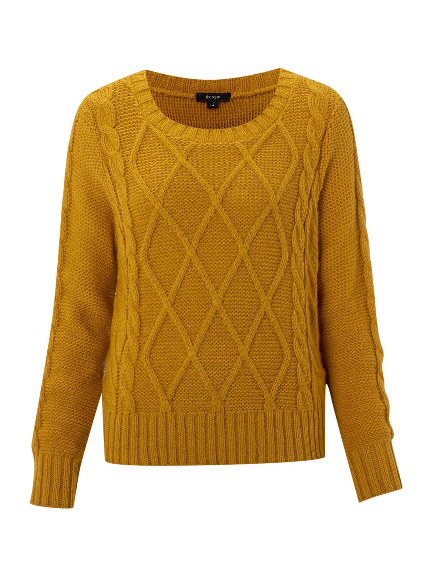 therapy-mustard-cable-knit-jumper- | innovations | Pinterest