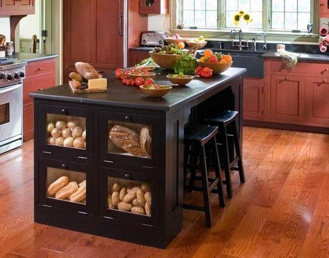 schrank glastüre ideen kücheninsel designs traditionell Küche mit ...