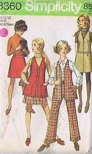 8360 Simplicity Sewing Pattern Girls Dress Pants SIZE 11-12 BUST 32 HIP 35 UNCUT