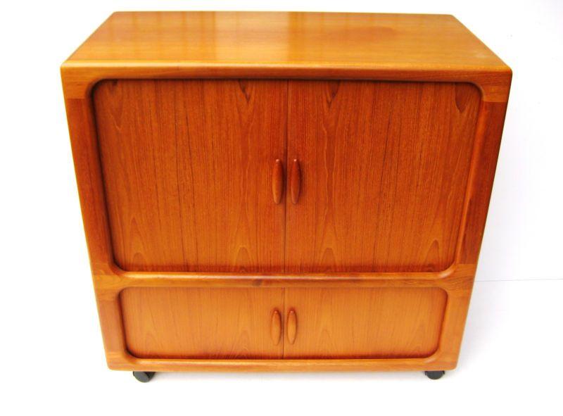 teak tv schrank dyrlund mit lamellentüren danish design midcentury, Hause ideen