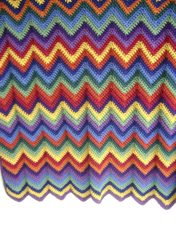 Rainbow Chevron Ripple Baby Blanket Pattern Advanced