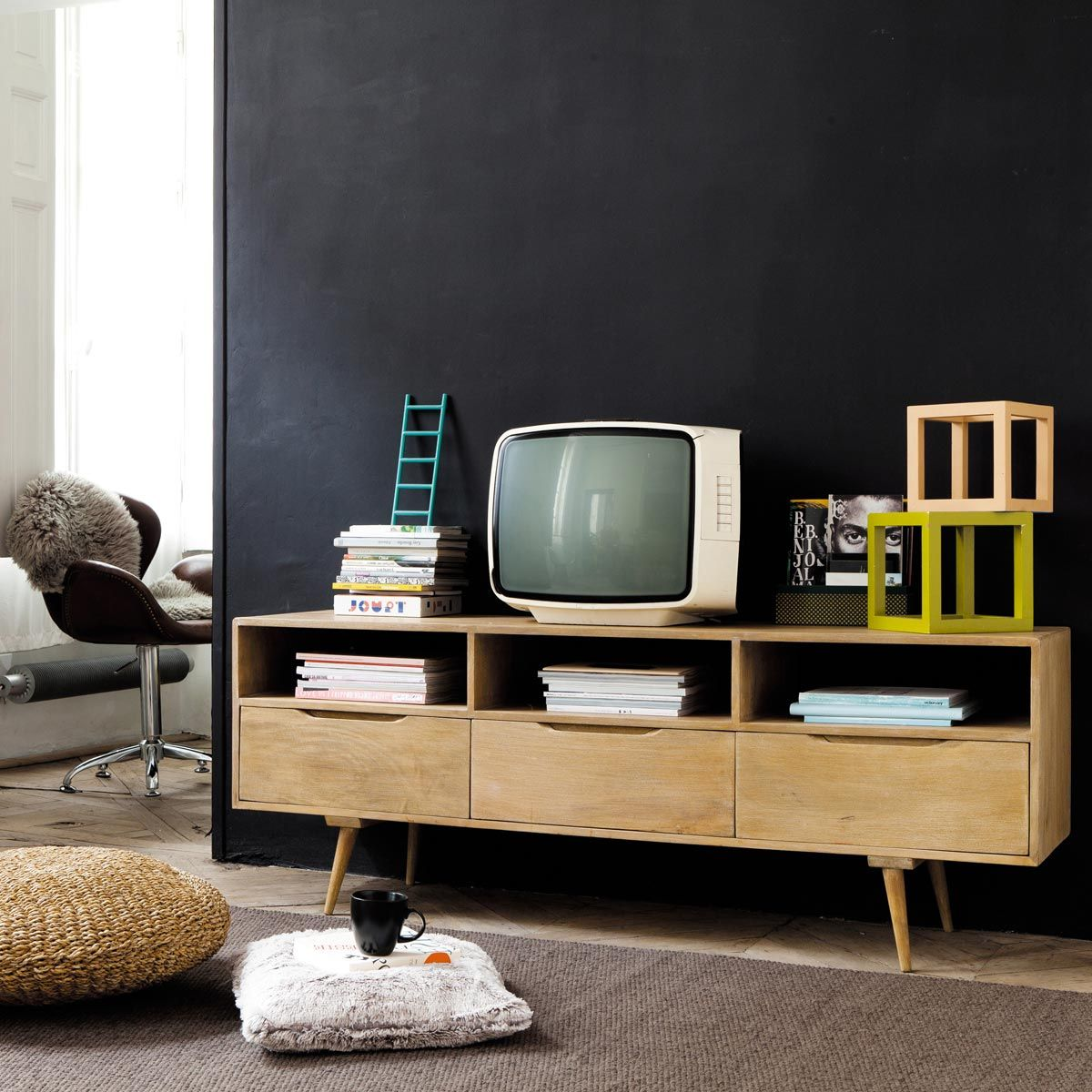 Meuble Tv Vintage En Manguier L 165 Cm Meuble Tv Tv Et Meubles # Meuble Tv Pierre